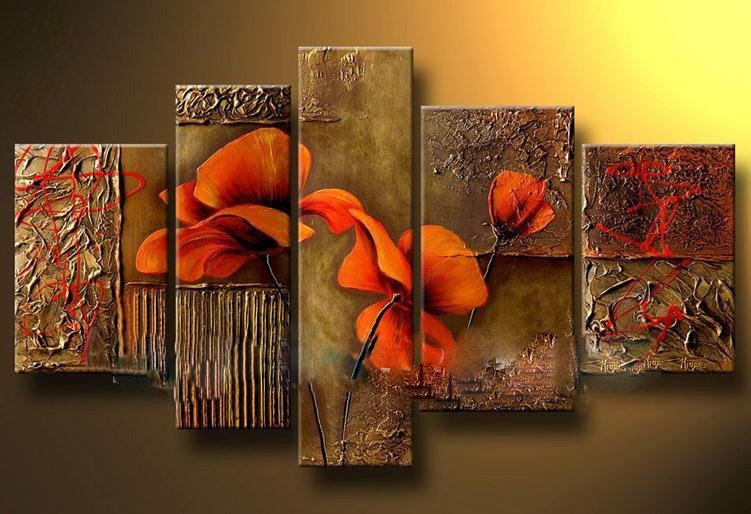 Free Shipping 5 Panels 100 Handpainted Museum Quality Large Wall Canvas Art Picture Flower Oil Paintings